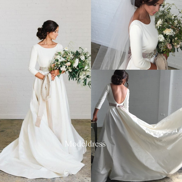 Charming Country Wedding Dresses 2019 Jewel 3/4 Long Sleeves Open Back A Line Sweep Train Bridal Gowns robe de mariée Cheap Customized