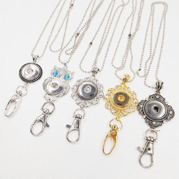 Wholesale Noosa Snap Keychain 18K Gold Lanyard Badge Work Documents Chunks Button DIY Fashion Jewelry