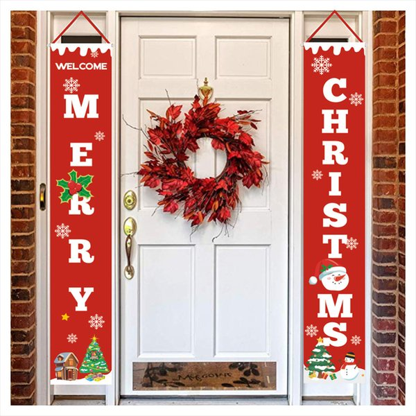 2pcs Fashion Wall Hanging 30*180cm Long Christmas Letter Porch Banners Home Garden Christmas Porch Sign Party Decorative Door