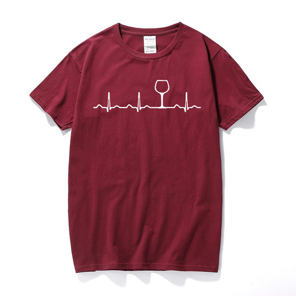 Wine Heartbeat T-shirt , Funny Cute Wine Glass Lover Gift 2019 Hot New Summer Unisex T Shirt New Arrival Summer Style Top Tee