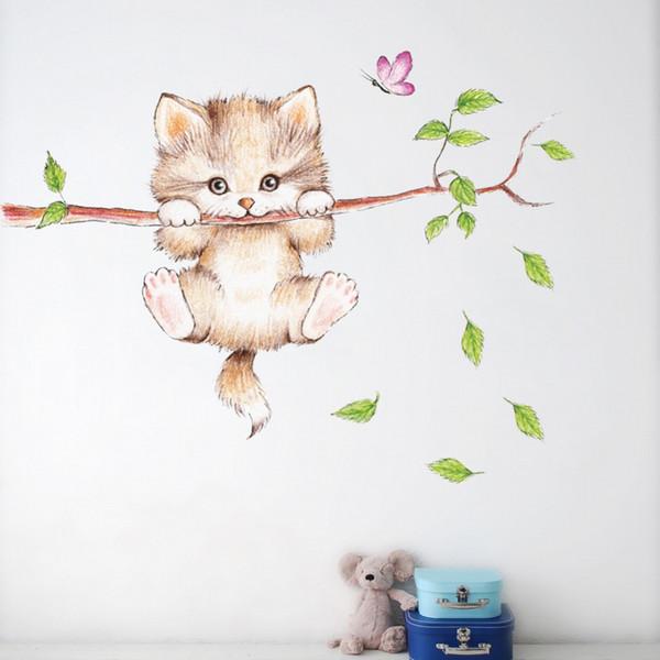 Gatos vívidos dos desenhos animados de escalada árvores adesivos de parede para quartos do bebê crianças poster home decor animal bonito pvc auto-adesivo arte mural