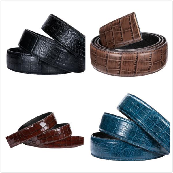 4 colores Cowskin Cinturón de cuero genuino sin hebilla Automático Cinturón de cuero Cuerpo Sin hebilla Diseñador Cinturones para hombre Cuerpo 3.5 cm de ancho