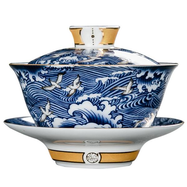 El Boyalı Desen Gaiwan Kaliteli Çay Kase Mavi ve Beyaz Porselen Teaware Vintage Gezdirilir Seramik Drinkware