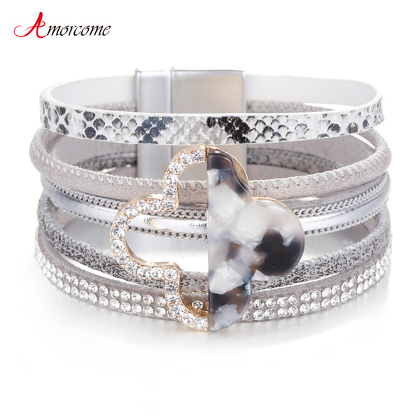 Amorcome Clover Charm Leather Bracciali per donna 2019 Fashion Jewelry Ladies Bohemian Wide Mulitlayer Wrap Bracelet Femme Gift