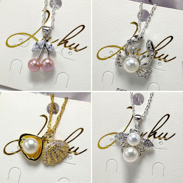 best selling DIY Gift Pearl Necklace Settings Sliver Pendant for Women Handmand 20 Styles DIY Pearl Necklace Jewelry Settings With Chain