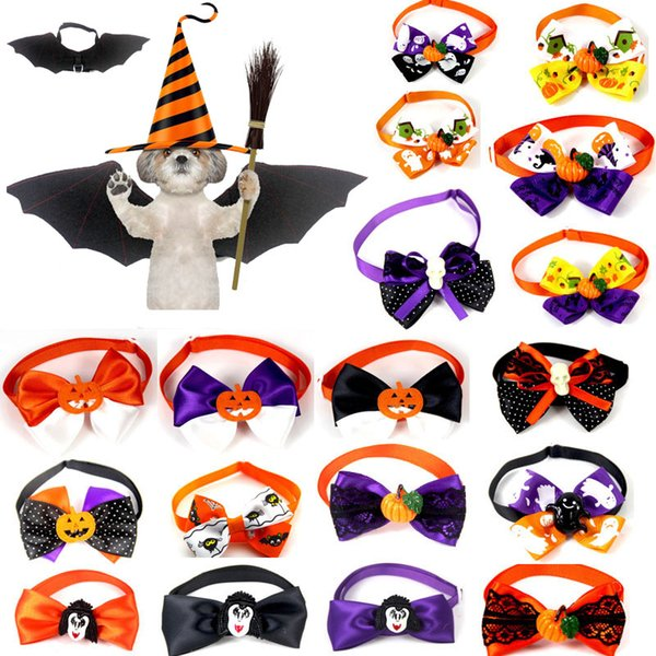 Lot handmade hallowen holiday dog tie pet dog necktie ribbon dog bow tie pet grooming upplie mix tyle whole ale 100 pc