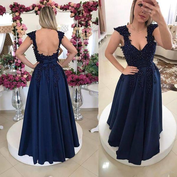 2019 New Elegant Navy Blue Prom Kleider Sexy Open Back Cap Sleeve Spaghetti-Trägern Lange Abendkleider Mit Perlen