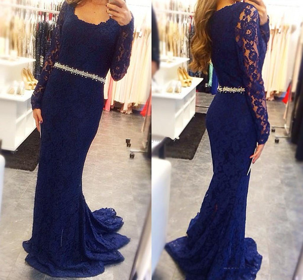 2019 Elegant Navy Blue Full Lace Evening Dresses With Long Sleeves Mermaid Prom Dress Sweep Train Custom Made Plus Size Mother Dress