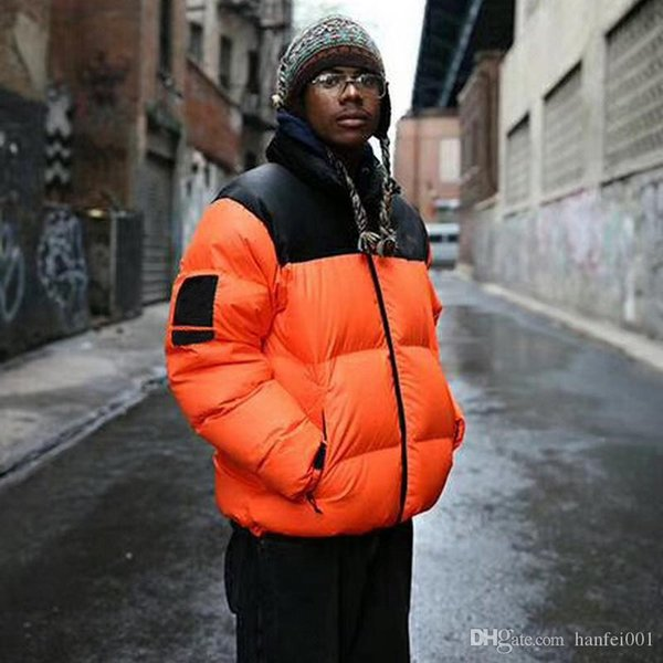 16FW THENF X BOX LOGO Down Jackets Nuptse Leaves Orange Windproof Thick Outerwear Fashion Trend Down Jackets HFXYYRF004