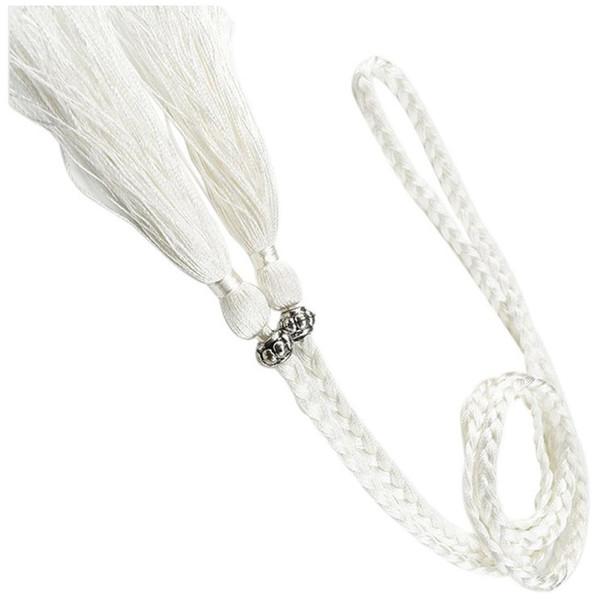 Verwong Dokuma püskül kemer düğüm dekore bel zinciri bel halat Beyaz