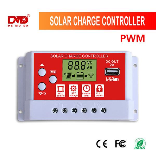 20A 30A12V 24V panneau solaire rechargeable automatique contrôleur de charge Contrôleurs PWM LCD double USB 5V sortie Panneau solaire photovoltaïque Régulateur