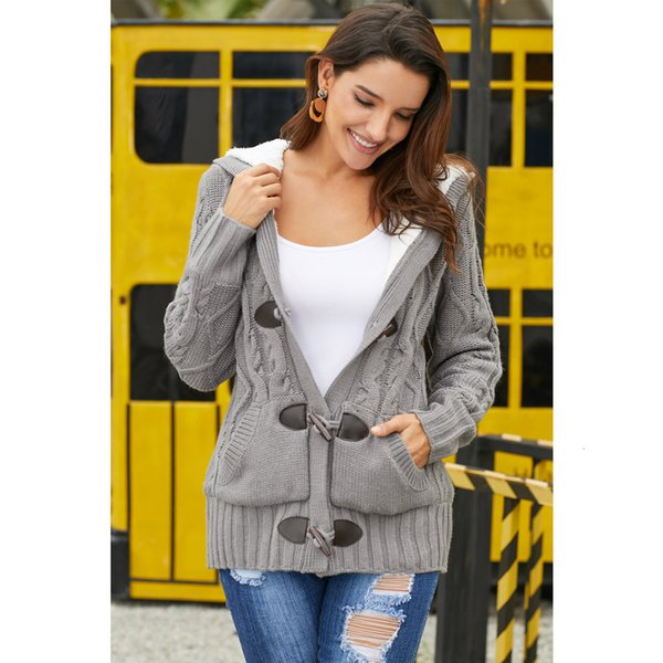 Wear Plus Women's Velvet Cardigan Sweater Female Easy Long Sleeves Even Cap Knitting Shirts 27967