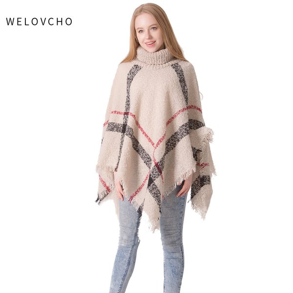 WELOVCHO Women Knitted Shawl Cardigan Poncho Cape Warm Sweater Autumn Winter Batwing Sleeve Cloak Coat Fashion Lady Girls