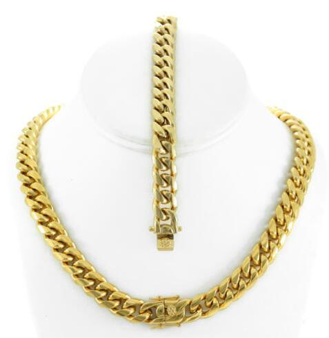 10mm Mens Large Thick 14K Gold Plated Miami Cuban Chain Bracelet Set Tight Close