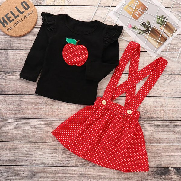Baby girl clothes Set spring fall carotton boutique kids outfits round collar long sleeve Cat Print T-shirt + full Cats Skirt 2pcs set