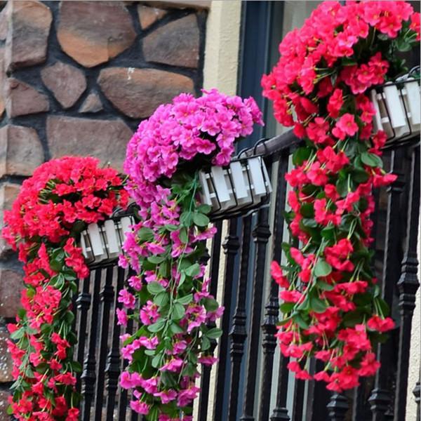 wholesale Flores artificiais Simulação Hortênsia Violeta pendurado flores Cane wisteria series Para decoração de Casamento Decoração de parede Festa