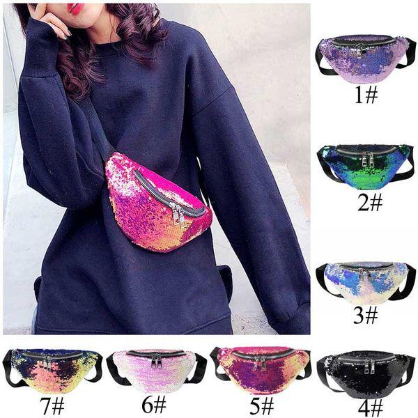 7 estilos Mulheres Reversível Sereia Lantejoulas Glitter Cintura Saco de Fanny Pack Bolsa Hip Bolsa Satchel Laser Bag Cintura Packs C13