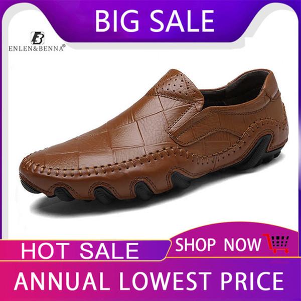 Yeni Rahat Ayakkabılar Erkekler Moccasins Loafer'lar Yetişkin Slip-On Hakiki Deri Sneakers Flats Erkek Rahat Ayakkabılar 2019 Artı Boyutları