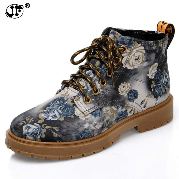 2018 British Style Flat Print Martin Boots Women Platform Shoes Retro Summer Floral Single Mid-Calf Lace-Up Short Boots 7563