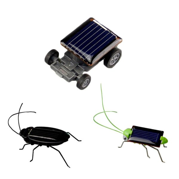 Atacado-1pc Mini Kit Novelty Kid energia solar Powered Car barata Power Robô Bug Gafanhoto Educacional Gadget Toy Para Crianças