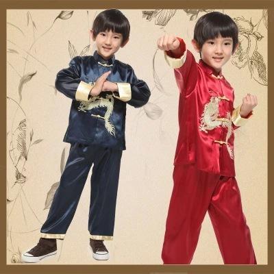 Manica lunga Dragon Boy Kung Fu Costume tradizionale cinese Top + pantaloni Bambini Nazione Cospaly Abbigliamento Costume popolare cinese 16