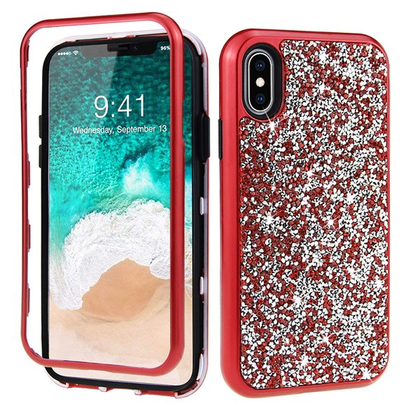 New Arrive Hybird 3 in 1 Diamond Rhinestone phone case for iPhone XR XS MAX Defender Protective Cover for iPhone 6s 7 plus
