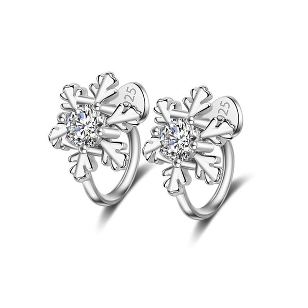 Crazy Feng Silver-color Crystal Snow Flower Clip Earrings For Women's Gift No Ear Hole Unique Design Earrings Free Shipping