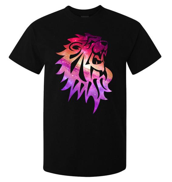 Pink Galaxy Universe Roaring Lion Art men's (woman's available) t shirt black Men Women Unisex Fashion tshirt Free Shipping black