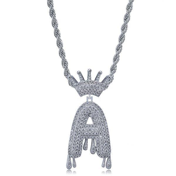 Custom Crown Bail Drip Bubble Initial Letters A-Z Chain Necklaces & Pendant For Men Women Silver Color Cubic Zircon Hip Hop Jewelry
