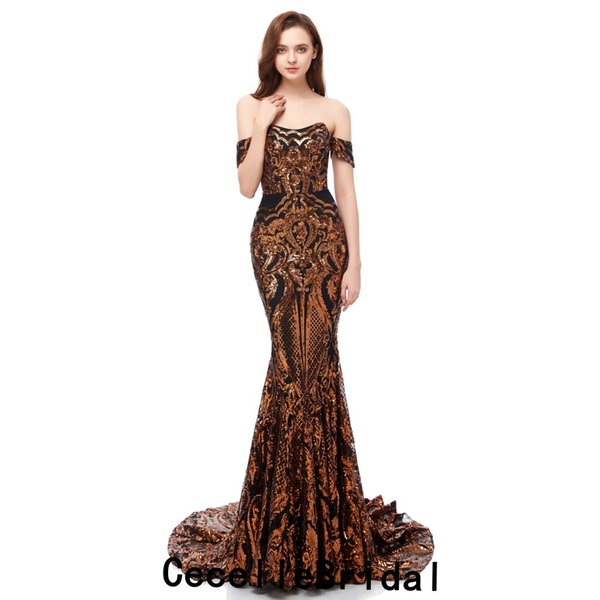 Hot Sell 2019 Dark Gold Sequins Mermaid Long Evening Dress 2019 Off the Shoulder African Black Girls Formal Evening Party Gowns Real Photos