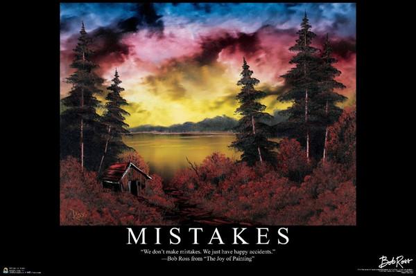BOB ROSS - MISTAKES - INSPIRATIONAL Art Silk Poster 24x36inch 24x43inch 058