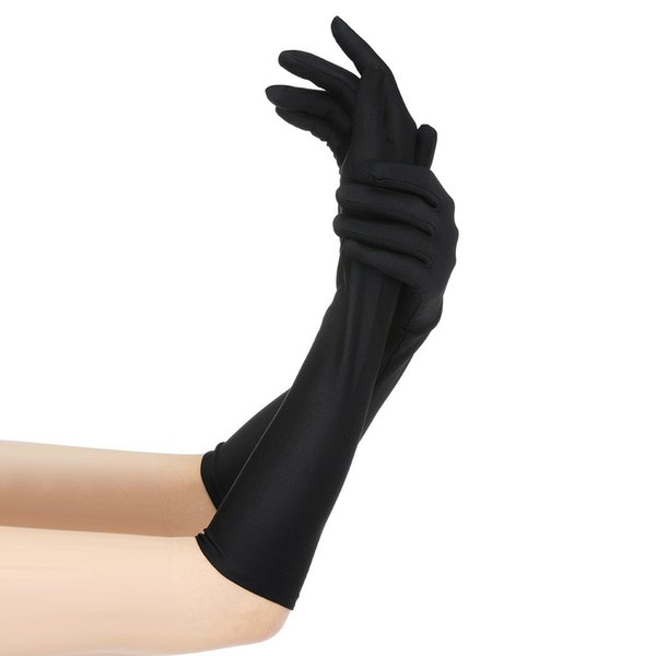 Women Sexy Party Gloves 22'' Long Black White Satin Finger Mittens Warm and mature gloves