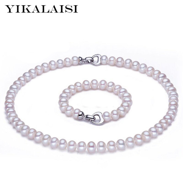 Yikalaisi 925 Sterling Silver Button Natural Freshwater Pearl Necklace Bracelet Fashion Sets Jewelry For Women 8-9mm Pearl Y19051302