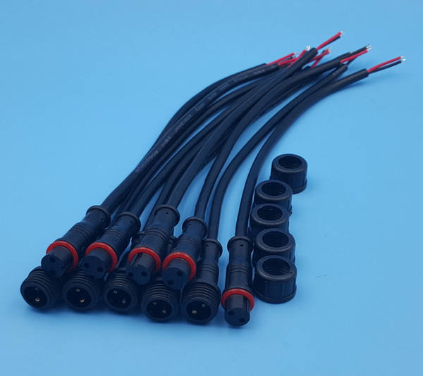 Free Shipping 50Pairs 2Pin IP65 Waterproof Connector 0.3mm Male & Female Black Cable 22AWG