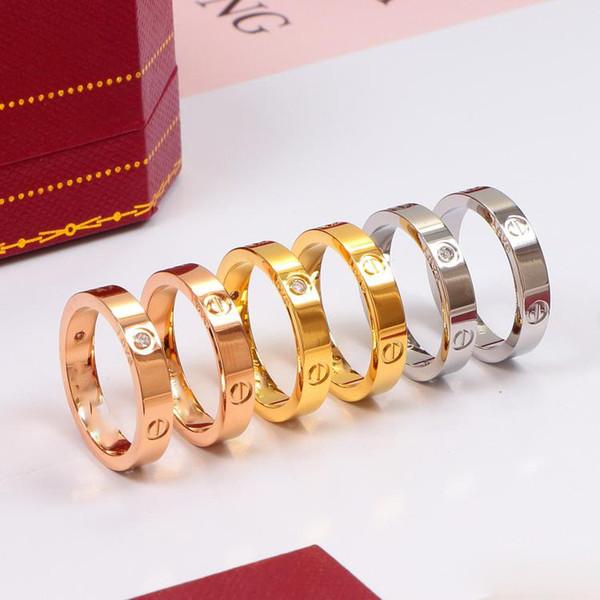 2019Luxury Designer Jewelry Anello da donna da uomo Anello da fidanzamento da uomo Love Diamond Anello in acciaio con diamante in titanio