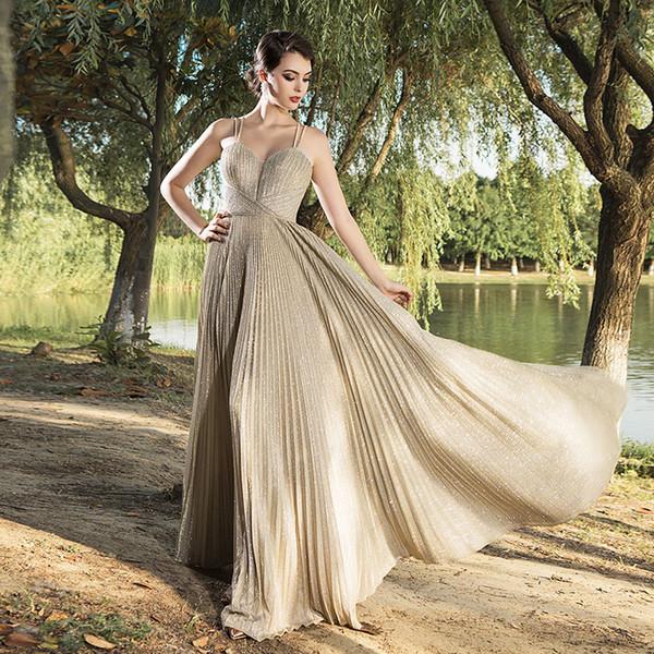 2019 champanhes shinning brilhantes vestidos de noite yousef aljasmi robe de soirée sapgetti sexy criss cross volta dubai Designer Occasion Dress