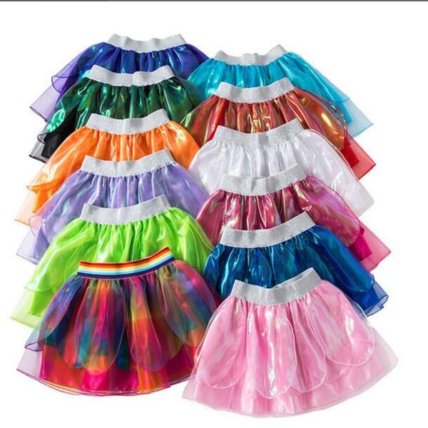 Diseñador de ropa niños niñas del arco iris mini vestidos del tutú del bebé del verano de danza color sólido princesa faldas vestido de fiesta de Navidad stagewear LT328