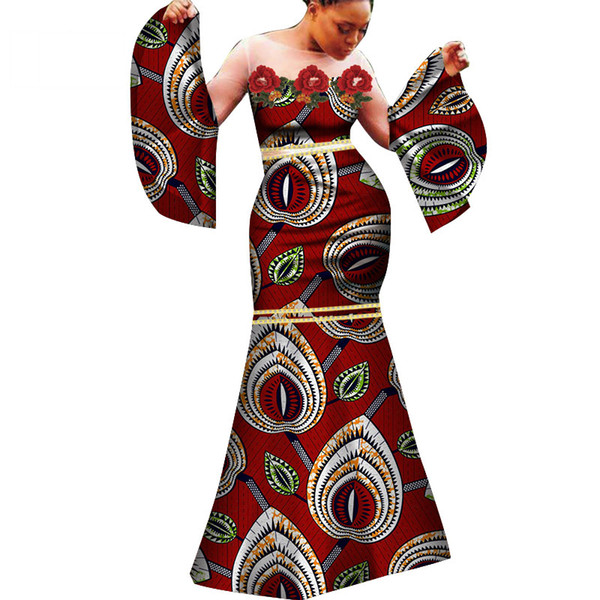 New fashion African women's dress sexy African dress white gauze and cotton product wax clothing slim long dress WY283