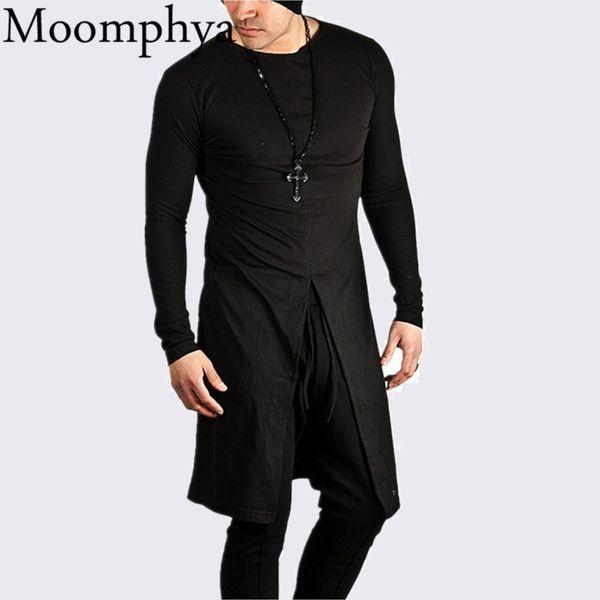 Moomphya 2017 New Autumn Men Longline mid Split t shirt extended long mid slit hip hop t shirt fashion street wear t-shirt men D18122902