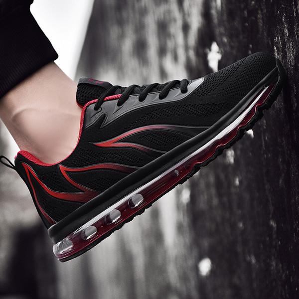 Nuevos zapatos de tela voladora para hombres de primavera y verano Zapatos de hombre de moda Cojín de aire All-Palm transfronterizo Zapatos deportivos Comercio exterior Venta al por mayor