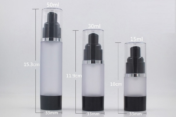 500 x 15ml 30ml 50ml Empty Black Frosted/Clear Airless Lotion Cream Pump Plastic Container clear cover silver line Cosmetic Bottle Dispenser