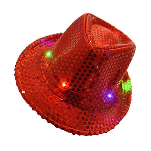 Dance Bar lumineux élégant Adulte Paillettes Accessoires Femmes Hat Jazz Disco avec lumière LED Party Prop Photo Halloween