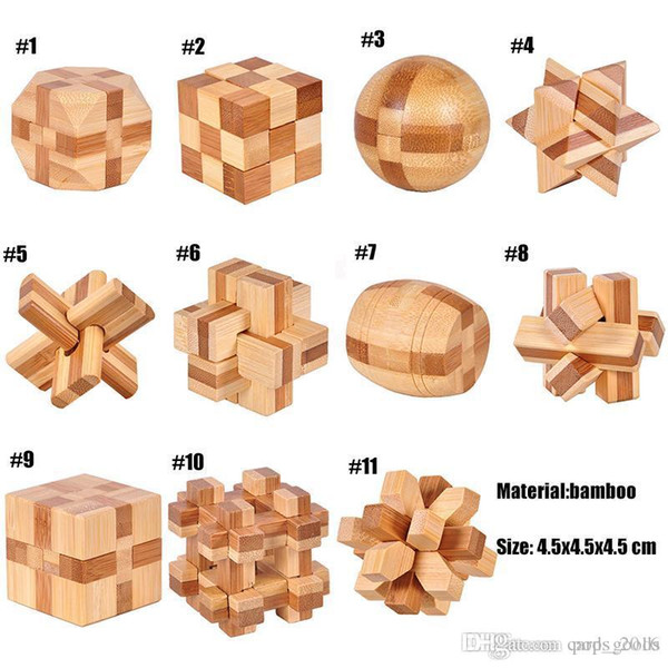 top popular IQ Brain Teaser Kong Ming Lock 3D Wooden Interlocking Burr Puzzles Game Toy For Adults Kids 2021
