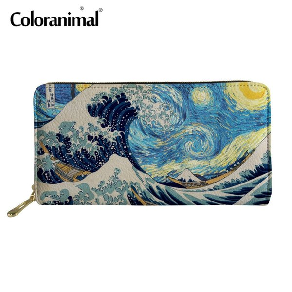 Coloranimal 3D Painting Art Long Wallet Coin Phone Multi Zip Around Wallets Starry Night Luxury Card Holders Handbag Clutch Bags