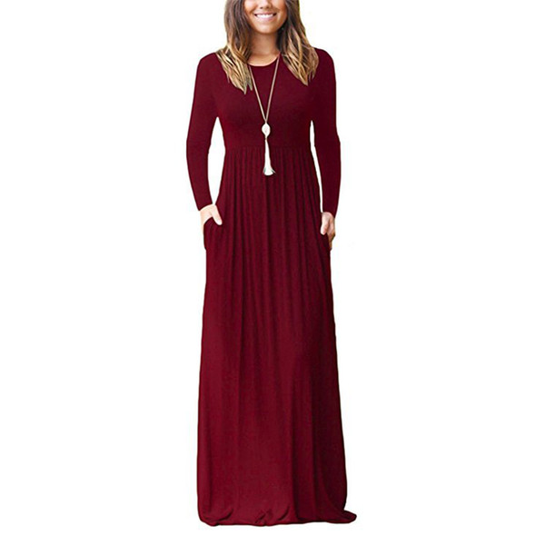 Femme Plus Size Pockets Long Maxi Dress Solid Long Sleeve Casual Dresses Winter Autumn O-neck Women Dresses Robe Femme XXL