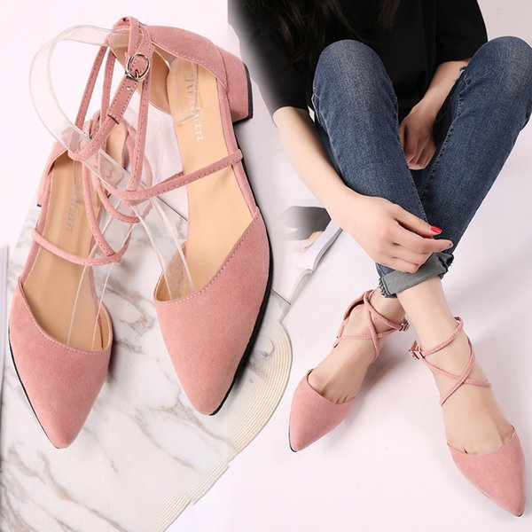 Lucky2019 Mouth Shallow Sharp Low Coarse With Sandals Crossing Bandage Hasp Single Velvet Shoes Noodles Woman Member Expert