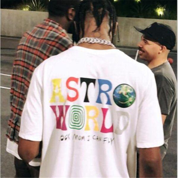 Mens Designer T Shirt pour Hommes Travis Scott Astroworld Dos et Avant Imprimé D'été Hommes Femmes Couple Vêtements Hip Hop Tees Livraison Gratuite