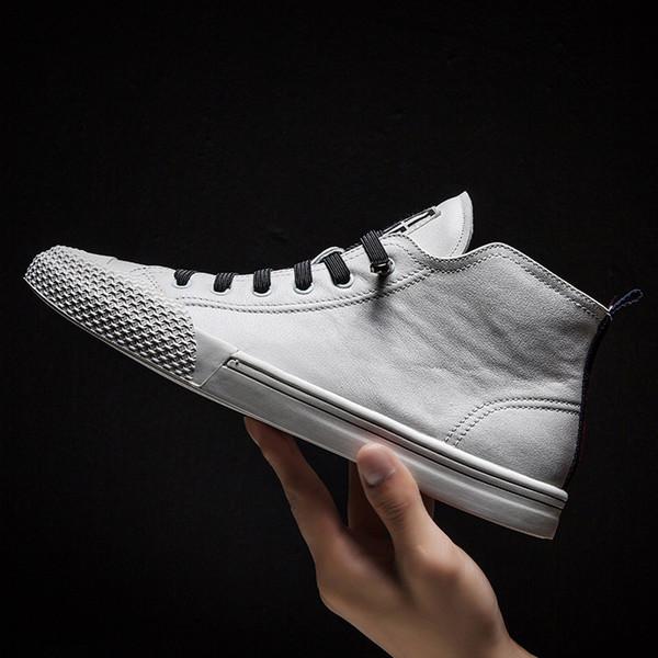 Autunno Inverno Uomo Scarpe Scarpe casual all'aperto in vera pelle di alta qualità Sneakers Traspiranti Antiscivolo Walking Bianco Semplice