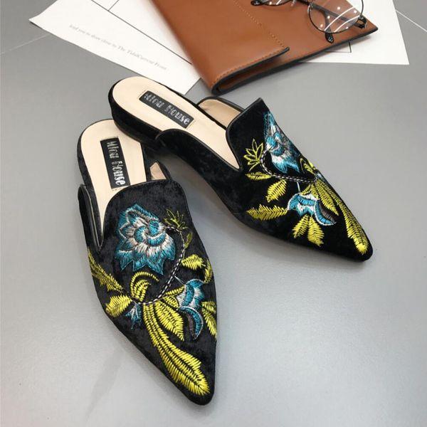 Pantofole piatte Ms Swan sandali di seta con ricami di petalo con punta Baotou fashion Leisure Lazy sandali nuovo stile