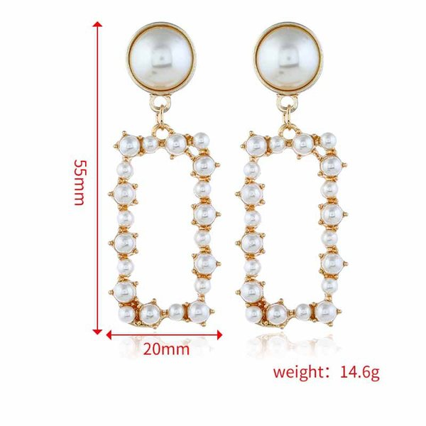 Rectangle Pearl Earring stud Personality Hollow Ear ring Hot Selling Pendant Charm Ear Stud Anti-allergy Earring Ear Stud For Wedding Party